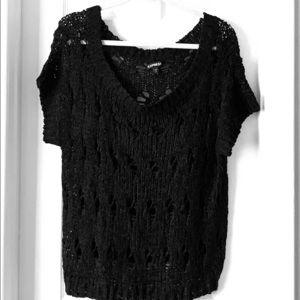 Express off the shoulder black knit sweater large